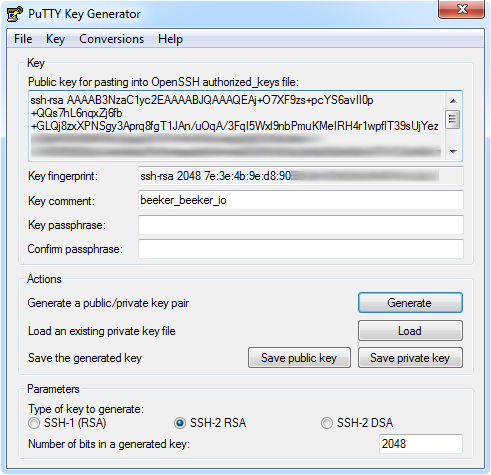PuTTYgen public/private SSH keys
